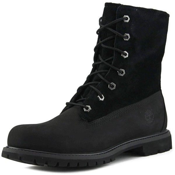 Timberland Auth Teddy Fleece Women Round Toe Leather Black Work Boot (2,535 MXN) ❤ liked on Polyvore featuring shoes, boots, ankle boots, black, short black boots, round toe ankle boots, black low heel boots, leather ankle boots and leather work boots