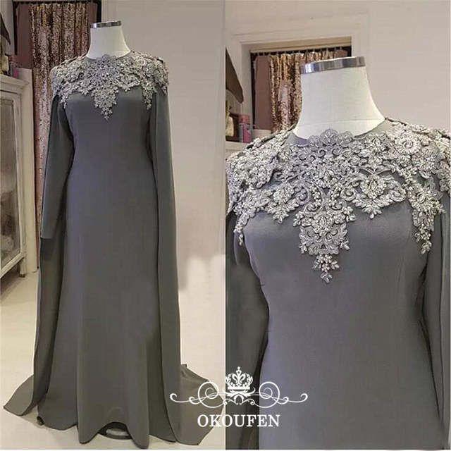 Online Shop قفطان عباية Aarabic المرأة الأم من فساتين العروس كيب طويلة الأكمام يزين 2019 Wedding Guest Gowns Bride Groom Dress Mother Of The Bride Dresses Long