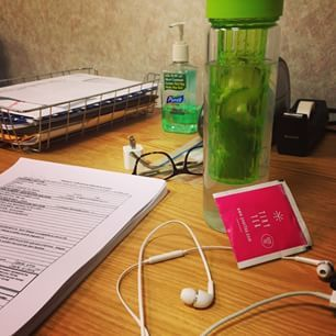 Tiny tea, Cucumber-Mint infused water, Elvis Duran replay channel and paperwork for this most unwanted Monday. #tinytea #tinyteatox #yourtea #cucumber #mint #infusedwater #infusedwaterbottle #elvisduran #iheartradio #monday #fit #weightwatchers #love #instagood #work #detox #teatox #fitfam #fitness #organic #glutenfree
