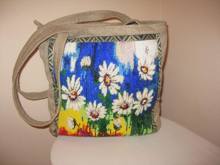 сумка с бисерной вставкой