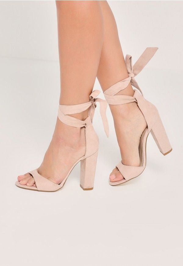 521f4a27ac8a Nude Curved Vamp Block Heeled Sandals by Missguided