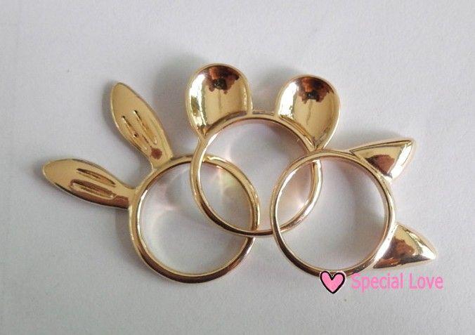 MOQ $ 10,0, 3шт комплект кольца, кролик, кошка и Микки Маус уха кольцо сплава в золочения. 72,64