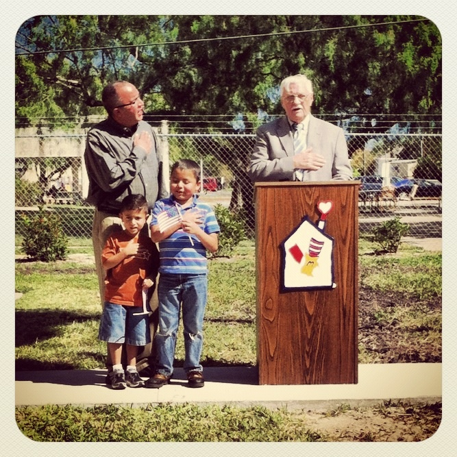 Enrique and Emiliano lead the Pledge of Allegiance at the