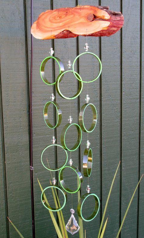 Recycled wine bottle wind chime Juniper wood by LindasYardArt
