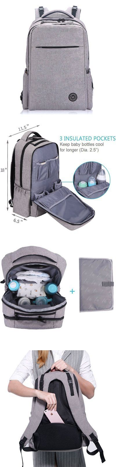 baby kid stuff: Lekebaby Large Diaper Bag Backpack With Stroller Straps For Mom And Dad In Grey -> BUY IT NOW ONLY: $44.82 on eBay!