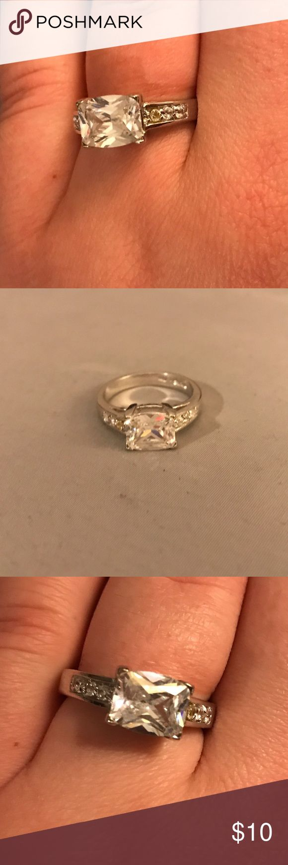 Faux Diamond Ring 💍 // Faux Diamond Ring // Approximately Size 8 //Costume Jewelry // Gorgeous Ring // Originally From A Diamond Candle // Diamond Candle Jewelry Rings