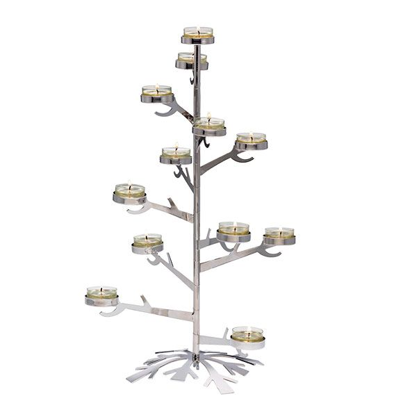 Silver Snowflake Tealight Tree Centerpiece