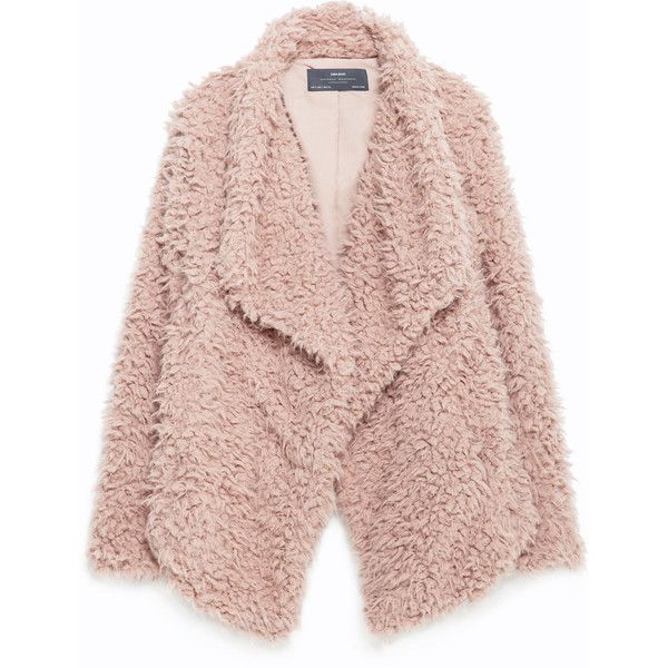 Zara Soft Faux Fur Jacket (455 ZAR) ❤ liked on Polyvore featuring outerwear, jackets, coats, coats & jackets and pale pink