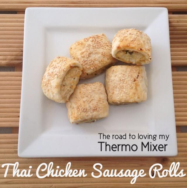 We love chicken sausage rolls. They are so easy to make for a last minute dinner or to keep stocked in the freezer. These are my Thai inspired sausage