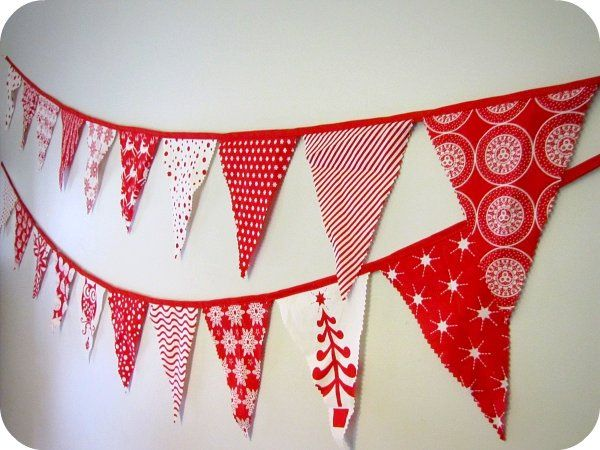 To keep me buy, some red & white Christmas bunting o make