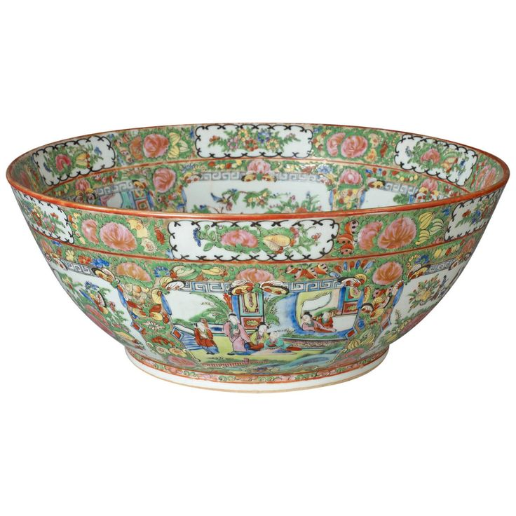 Exceptional Rose Medallion Punch Bowl | From a unique collection of antique and modern ceramics at https://www.1stdibs.com/furniture/asian-art-furniture/ceramics/
