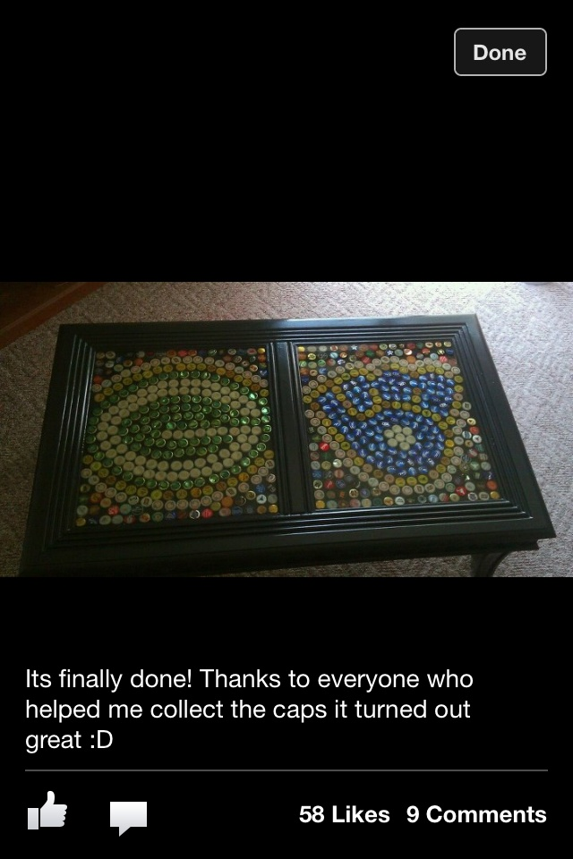 Bottle cap table top, I would so do this but with bears and cubs!