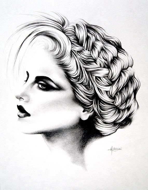 12 x 9 Graphite Pencil Original Portrait Drawing por StudioHK, $85.00
