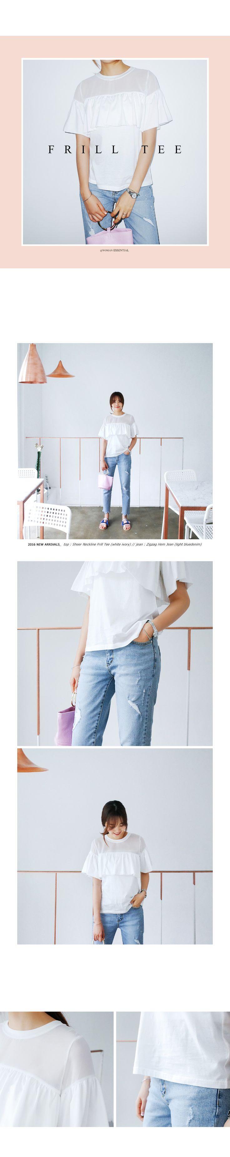 シースルーラッフルTシャツ・全3色トップス・カットソーカットソー・Tシャツ レディースファッション通販 DHOLICディーホリック [ファストファッション 水着 ワンピース]