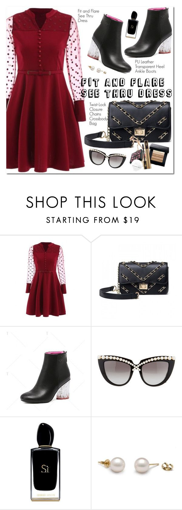 """""""Fit and Flare See Thru Dress"""" by oshint ❤ liked on Polyvore featuring Anna-Karin Karlsson and Giorgio Armani"""