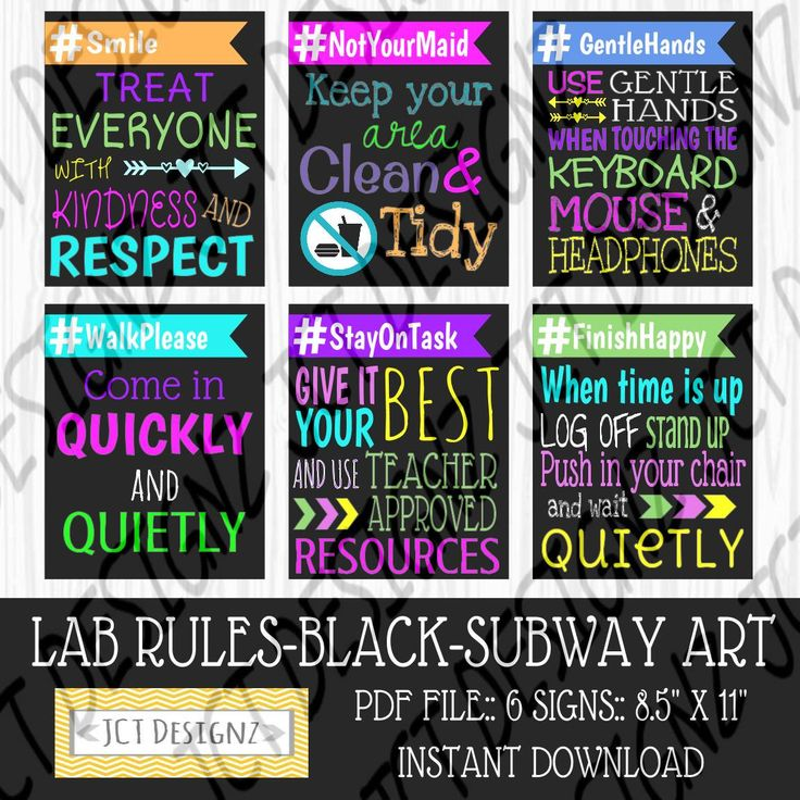 INSTANT DOWNLOAD, Computer Lab Rules, Subway Art, Technology Rules, Subway Rules, JCTDesignz, computer lab, rules sign, Subway Art Rules by JCTDesignz on Etsy