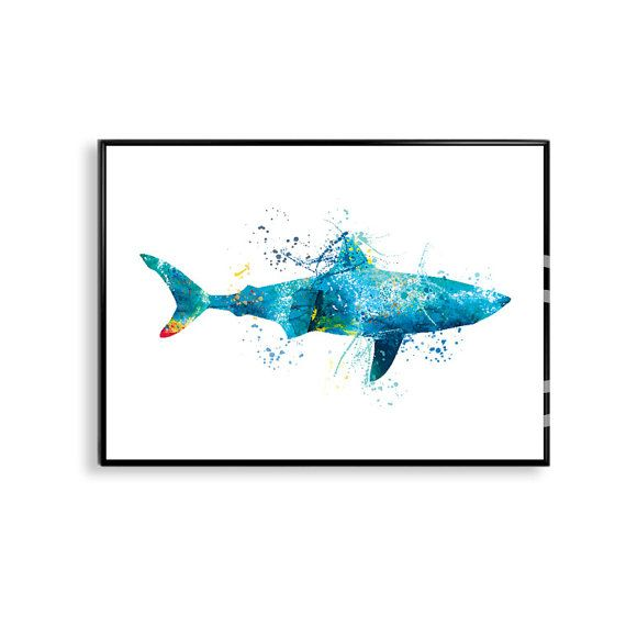 Watercolor Shark Shark Art Print Shark Painting Shark by artRuss