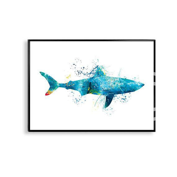 Watercolor Shark, Shark Art Print, Shark Painting, Shark Illustration, Bathroom…