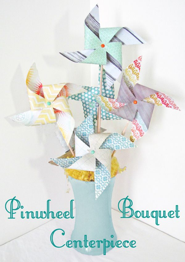 A tutorial for making a beautiful pinwheel centerpiece using scrapbook paper. This is a simple easy craft anyone can make.