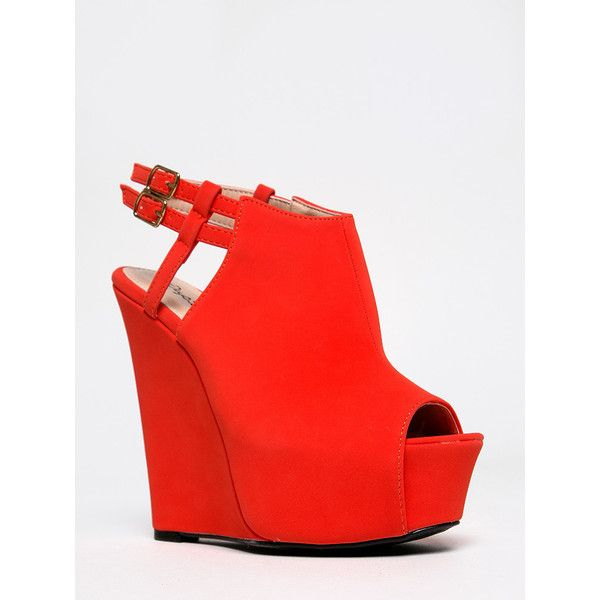 JASPER-15 Wedge (£26) ❤ liked on Polyvore featuring shoes, sandals, heels, wedges, orange, qupid shoes, orange heeled sandals, peep toe slingback sandals, orange wedge sandals and wedge shoes