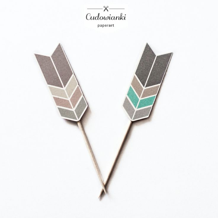 Arrows cupcake toppers for tribal birthday party. By Cudowianki.