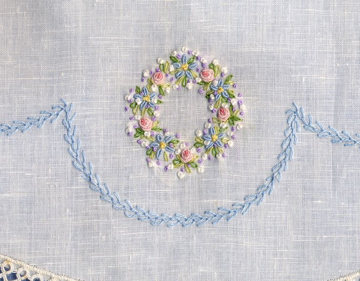Cambric linen collar features pastel embroidery & blue featherstitched garland. Made by Trudy Horne