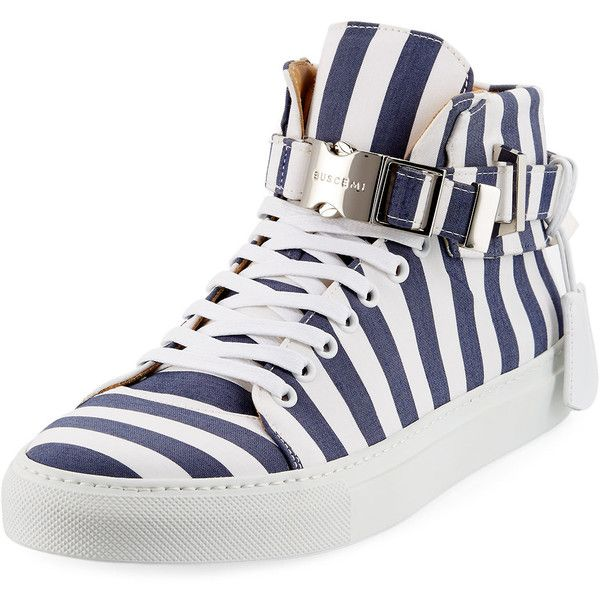 Buscemi Men's 100mm Striped Canvas High-Top Sneaker ($795) ❤ liked on Polyvore featuring men's fashion, men's shoes, men's sneakers, mens canvas sneakers, mens canvas shoes, mens round toe dress shoes, buscemi mens shoes and mens high tops