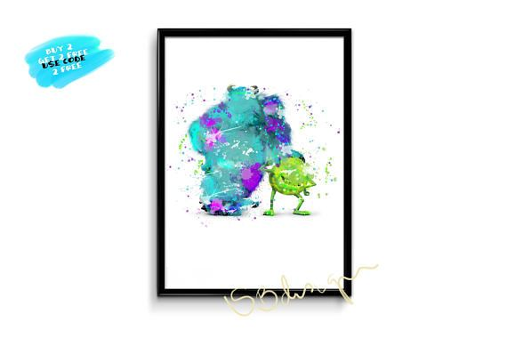 Monster Inc Poster Disney Watercolor Poster Sally Poster
