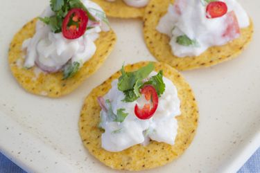 Lime ceviche on corn chips