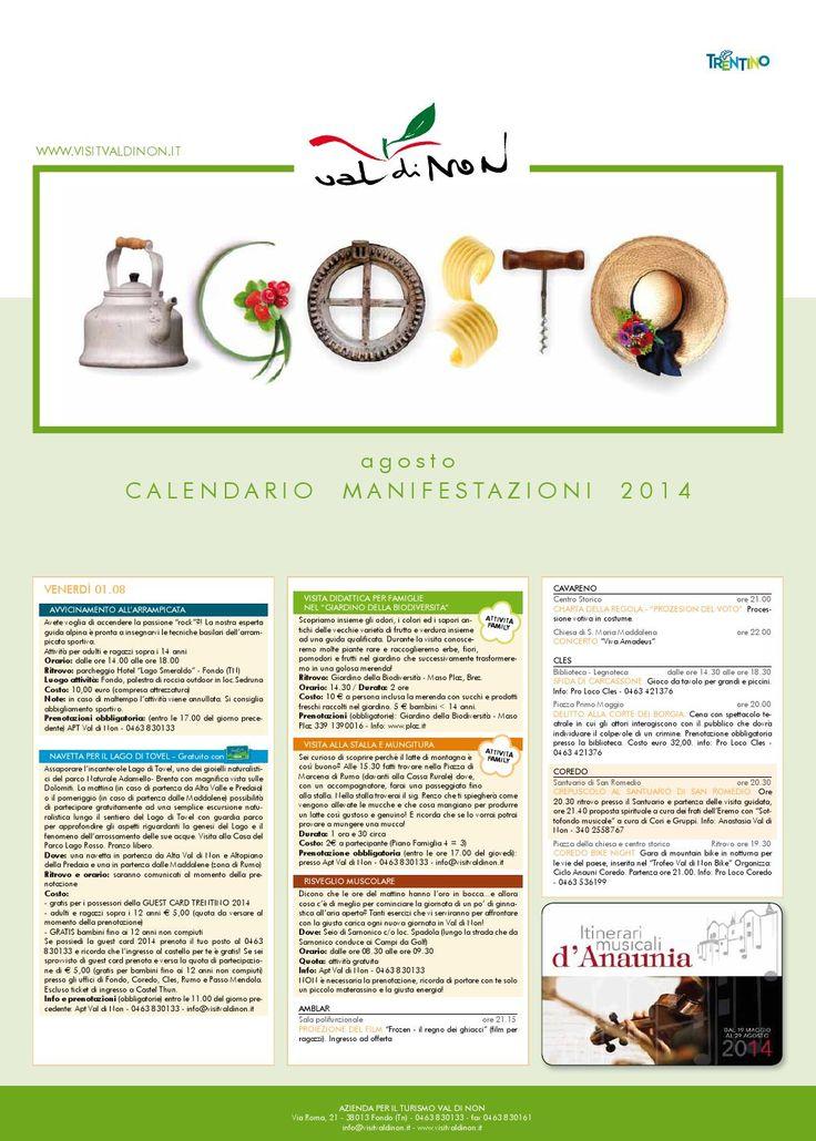 Tabloid agosto 2014  Tutte le manifestazioni del mese di agosto in Val di Non!