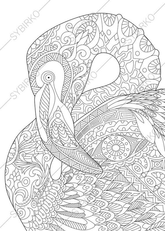 Flamingo Adult Coloring Book Page By ColoringPageExpress On Etsy