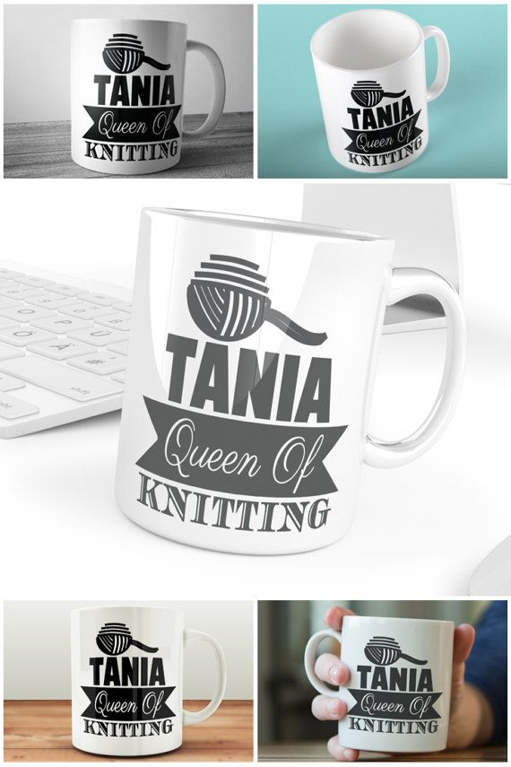 Personalised Queen of Knitting Coffee Mug  #personalisedmugsuk #knittinggifts #craftroomgifts #coffeemugs #prandski