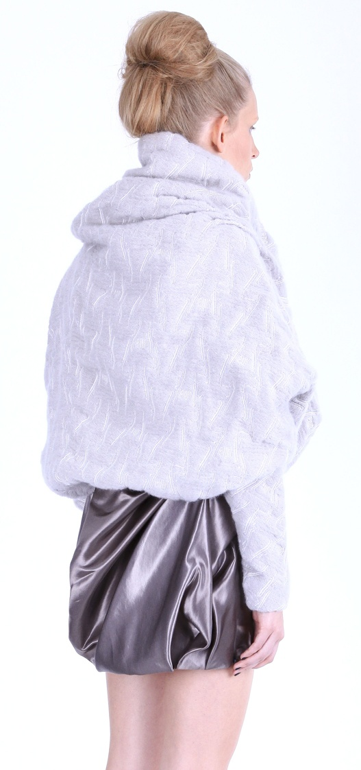 """Back view: Jacket ( weave, mohair yarns, """"scale"""" pattern), dress ( silk satin), shoes ( leather, stainless-steel heel)"""