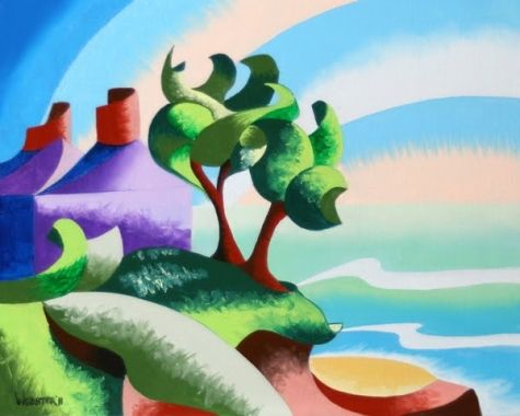 Mark Webster - House on the Coast - Abstract Geometric Landscape Oil Painting, painting by artist Mark Adam Webster