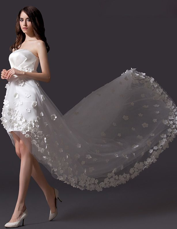 A-line Embroidered Flower Asymmetrical Tulle Short Wedding Dress