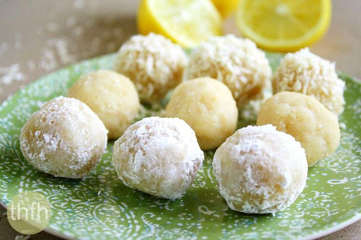 Raw Vegan Lemon Meltaway Balls   The Healthy Family and Home (make with Stevia Blend instead)
