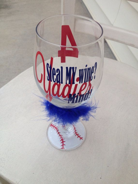 Yadier Molina St Louis Cardinal inspired wine glass baseball bottoms super fan wine glass  on Etsy, $14.00