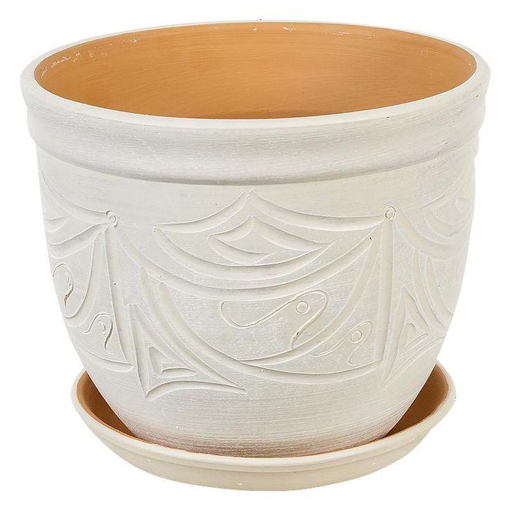 Горшок керамический с поддоном Узоры, диаметр 18,5 см, 4,2 л, цвет бежевый
