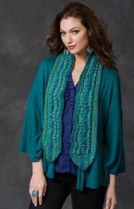 Ripple On The Side Scarf By Coats Design Team - Free Knitted Pattern - (redheart)