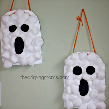Make a Cotton Ball Ghost