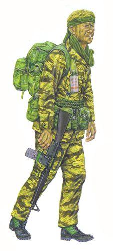 Soldado LRRP, Companía F, 58ª de Infantería, 101ª División Aerotransportada, Vietnam, 1968.