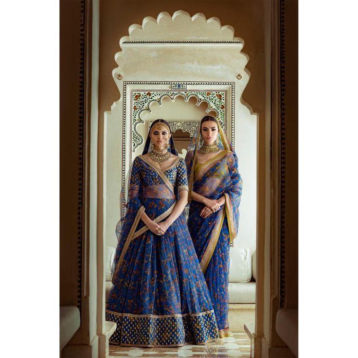 Light Lehengas - Sabyasachi Royal Blue Lehenga and Saree with Gold Dull Embroidery and Border | WedMeGood #wedmegood #indianbride #indianwedding #sabyasachi #royalblue #lehenga #lightlehenga #saree #bridal