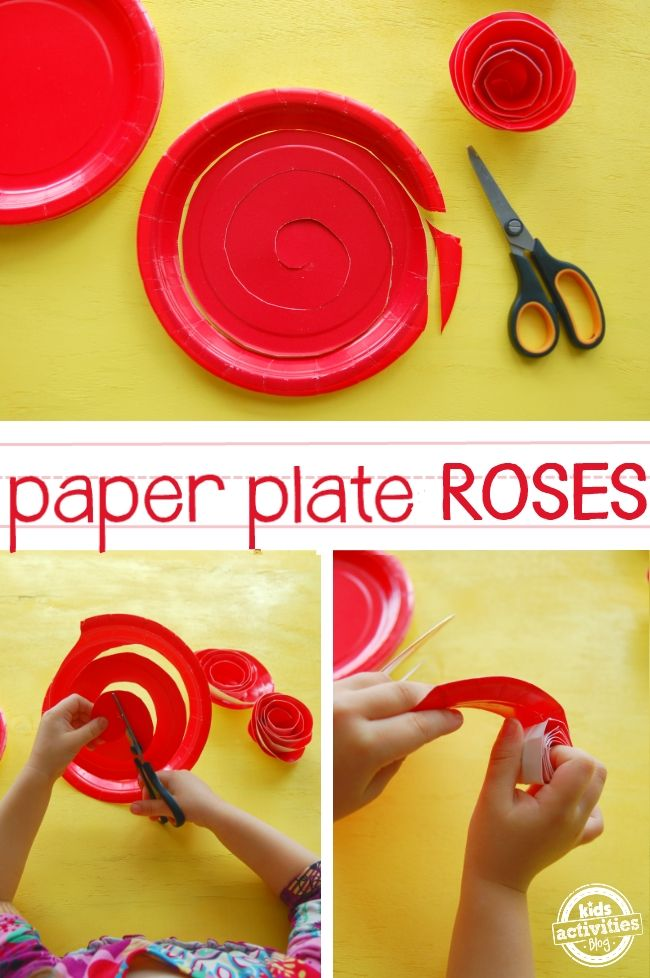 How To Make Paper Plate Roses Green Projects For Kids Crafts For