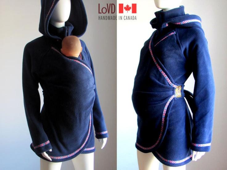 Maternity. Maternity Clothes. Babywearing Coat. Baby Wearing Jacket. Hood.  Maternity Jacket. Winter. Canada. Carry Coat. Sling. Canada.. $250.00, via Etsy.