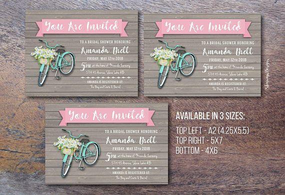 Spring Bridal Shower Invitation // DIY Printable Bridal Shower Invite // Daisy Floral Wedding // Bicycle Theme Bridal Shower // Wood Invite