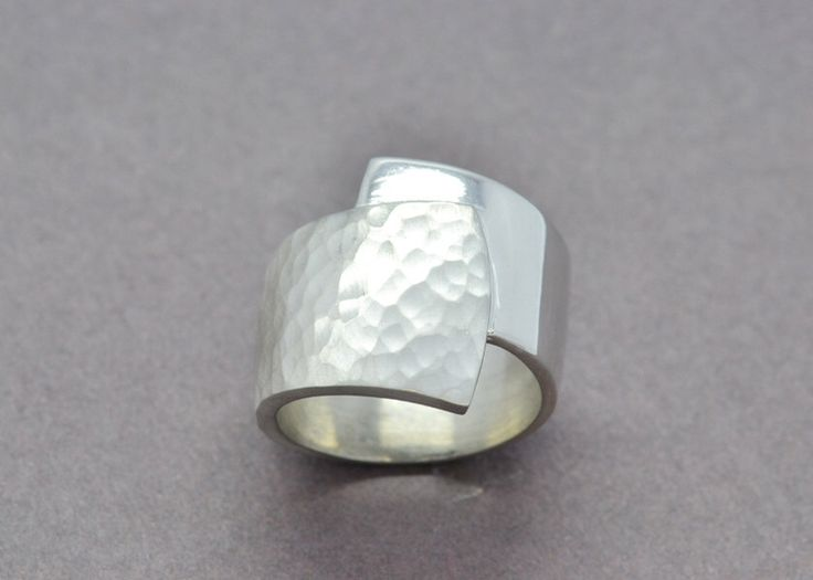 Wide Sterling Silver Ring, Hammered Silver Ring, Wrap Ring, Silver Wrap Ring, Statement Ring, Modern Silver Ring, Sterling Silver Ring by SuttonSmithworks on Etsy https://www.etsy.com/ca/listing/463773727/wide-sterling-silver-ring-hammered