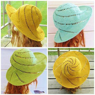 Mejores 145 imágenes de Crochet Summer Hats en Pinterest | Sombreros ...
