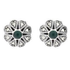 Green Agate Silver Marcasite Earrings - Vintage Art Deco Inspired Jewellery - Chicago Marcasite Jewellery