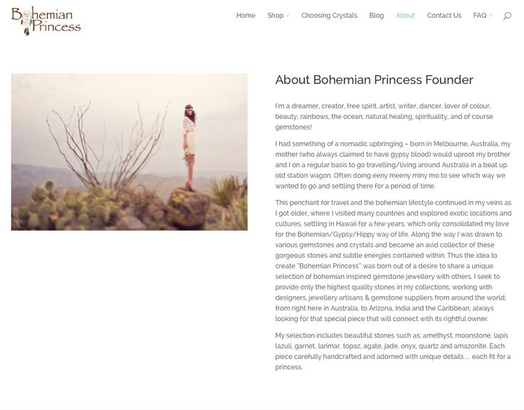 """""""About"""" Page for Bohemian Princess"""