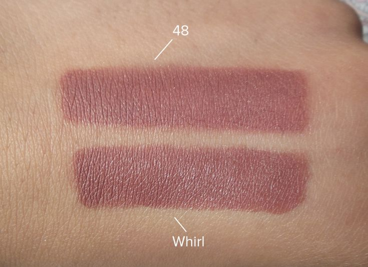 Rimmel London Kate Nude Lipstick in shade 48 vs MAC Matte Lipstick in Whirl, taken in natural daylight.